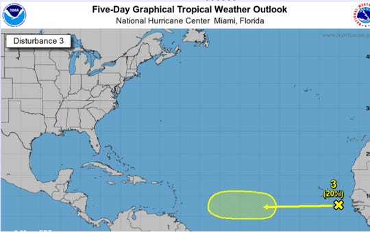 The disturbance off the coast of Africa as of 2 p.m. Tuesday.