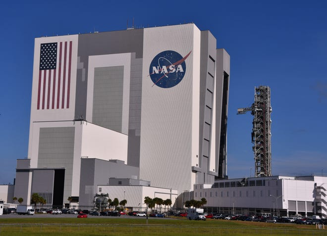 NASA's Exploration Ground Systems (EGS) will return the mobile launcher to Launch Pad 39B on Tuesday, Sept. 10, 2019. The nearly 400-foot-tall structure was taken to the Vehicle Assembly Building for safekeeping on Aug. 30 in advance of Hurricane Dorian. The mobile launcher is rated to withstand 110 mph winds. The mobile launcher rolled out of the VAB just after 9:00 a.m. Tuesday.