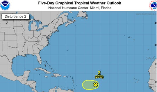 The disturbance heading to the Lesser Antilles as of 2 p.m. Tuesday.