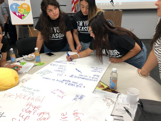 From left, Miller High School 12th-graders Victoria Reyna, Evelin Rodriguez and Naomi Davila brainstorm ideas to prevent student suicides during a symposium at the Del Mar College Center for Economic Development on Monday, Sept. 9, 2019.