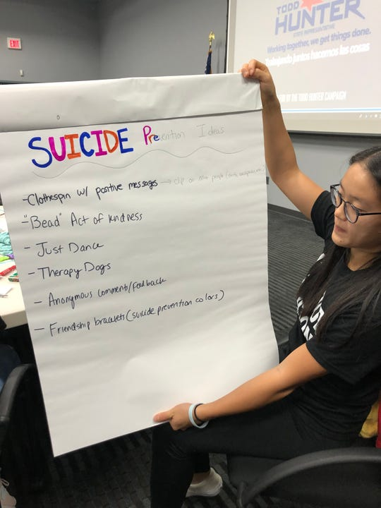 Ray High School 12th-grader Shiyeon Kim displays her group's ideas for suicide prevention during a symposium at the Del Mar College Center for Economic Development on Monday, Sept. 9, 2019.