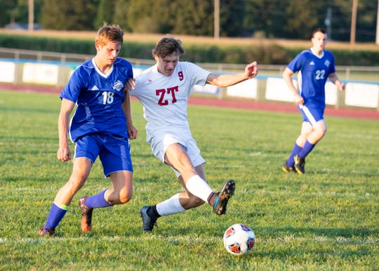 Zane Trace's Colby Swain kicks the ball to score his second goal during their soccer match against Southeastern on Monday, September 9, 2019. Swain would score two goals while only playing for a limited amount of time with Zane Trace defeating Southeastern 7-0.