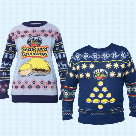 Here are Skyline Chili's 2019 holiday sweater designs.
