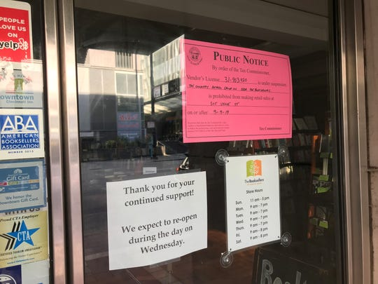 The Ohio Tax Commissioner appears to have shuttered The Booksellers on Fountain Square. The store has promised to reopen.