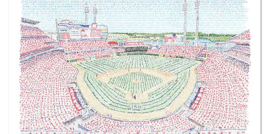 Philadelphia artist Dan Duffy created an ink pen art piece of the Cincinnati Reds' home in honor of the teams 150th anniversary. The piece contains the names of every Reds player from 1869 to 2019, he says. There are 2,059 players named in the portrait.
