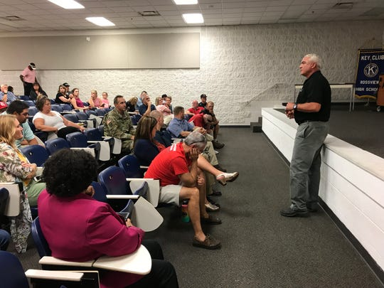 Clarksville-Montgomery County School System Operations Manager Jim Sumrell addresses Rossview High baseball team booster club parents on Sept. 9, 2019.