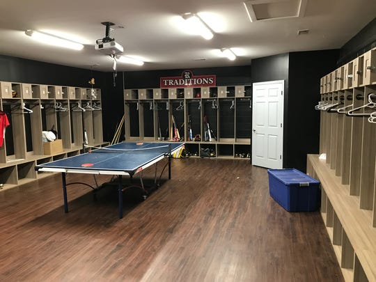 The locker room in the Rossview campus indoor batting practice facility on Sept. 9, 2019.