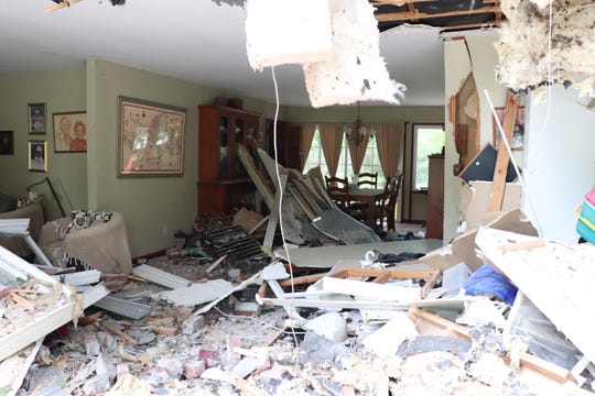 The interior of a South Brunswick home heavily damaged after a dump truck crashed into it on Aug. 14.