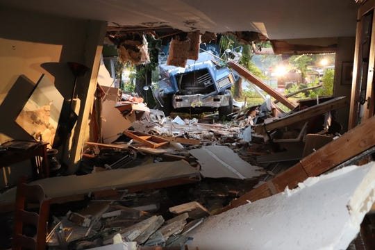 A interior view of the damage caused to a home at the corner of Shelley and New roads in South Brunswick after a dump truck crashed into it last month.