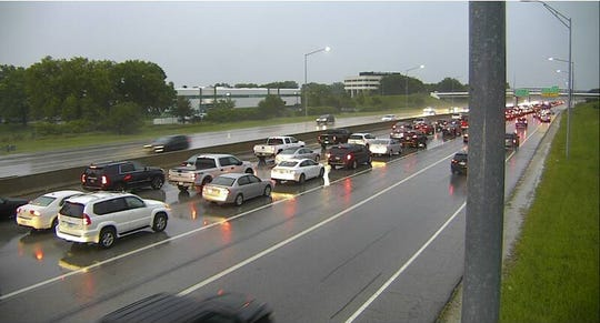 Traffic was backed up on Interstate Highway 235 East near 42nd Street in West Des Moines on Tuesday morning
