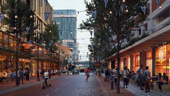A rendering of Greektown shows what Monroe Street would look like according to the Greektown Neighborhood Framework Vision.