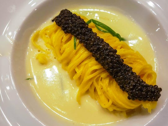 Saffron capellini with Calvisius ossetra caviar and wilted spring onions in a mascarpone sauce from the Pernoi preview pop-up dinner at the Chef's Table at the Detroit Foundation Hotel earlier this summer. The dish is similar to an item on Pernoi's opening menu.
