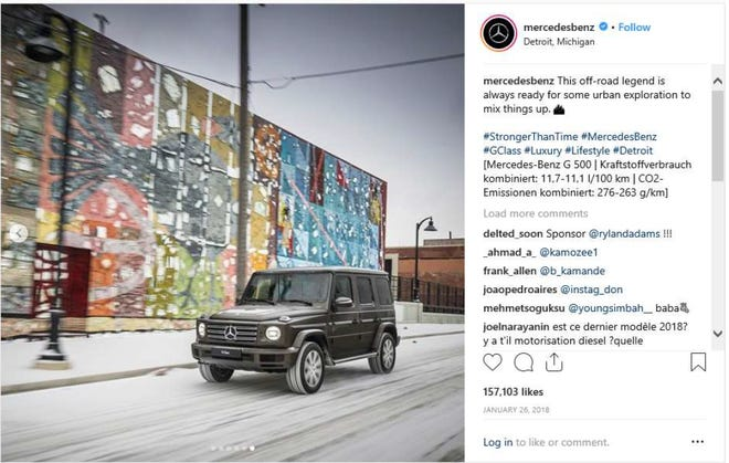 """Mercedes-Benz's now-deleted Instagram post featuring a mural in Eastern Market by James """"Dabls"""" Lewis."""