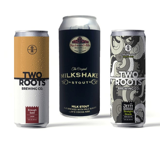Beers offered by California's Two Roots Brewing Co. and Michigan's Rochester Mills Beer Co. Two Roots Brewing is acquiring Rochester Mills as of Sept. 10, 2019.