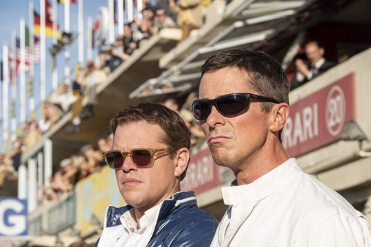"Matt Damon, left, and Christian Bale in the movie ""Ford v Ferrari,"" which will make its world premiere at the 2019 Telluride Film Festival. (Merrick Morton/ Twentieth Century Fox/IMDb/TNS)"