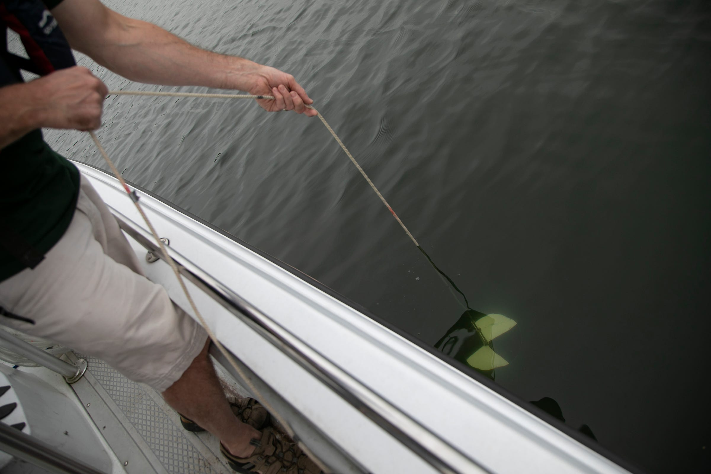 Kevin Wehrly is a fisheries research biologist with the MDNR's Institute for Fisheries Research lowers a Secchi disc before doing water quality testing at Cedar Island Lake in White Lake Township Tuesday, Sept. 10, 2019.