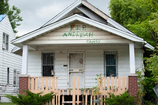 An abandoned house on Tacoma near Gratiot Avenue carries a spray-painted tribute to a an 'Andreah', believed to be a drug dealer killed in the house.