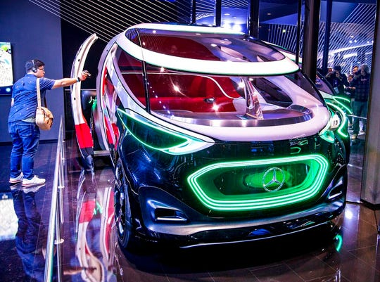 """The Mercedes concept car """"Vision Urbanatic"""" is photographed at the IAA Auto Show in Frankfur."""