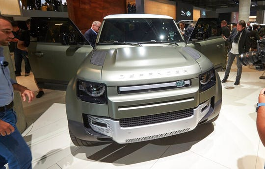 The successor of the 'Defender' car by car manufacturer Land Rover is displayed at the IAA Auto Show in Frankfurt, Germany, Tuesday, Sept. 10,2019.