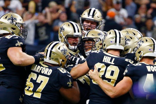 New Orleans Saints kicker Wil Lutz celebrates his game winning 58-yard field goal at the end of regulation Monday against the Houston Texans. The Saints won 30-28.