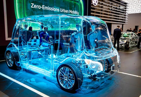 A transparent van is displayed by a vendor for safety devices at the IAA Auto Show in Frankfurt, Germany, Tuesday, Sept. 10, 2019.