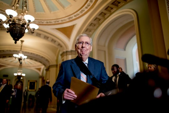 Senate Majority Leader Mitch McConnell of Ky., arrives for a news conference following a Senate policy luncheon on Capitol Hill, Tuesday, Sept. 10, 2019, in Washington.