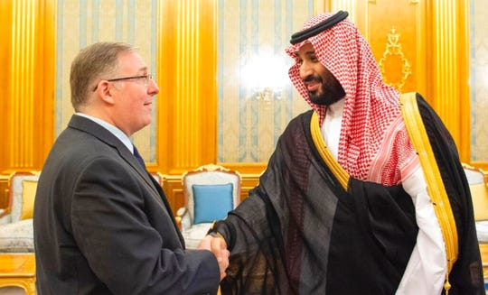 This photo provided by Embassy of the Kingdom of Saudi Arabia , dual U.S.-Israeli national Joel Rosenberg shakes hands with Crown Prince Mohamed bin Salman at a palace in Jiddah, Saudi Arabia, on Tuesday, Sept. 10, 2019.