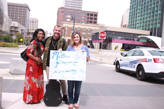 """Matthew Karsten, 28, of Niles auditioned for """"American Idol"""" in Detroit, but wasn't selected to move onto the next round. He is joined by colleagues Jeanette Jones, left, 45, of Lansing and Meredith Kazma, 34, of Grand Rapids."""