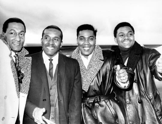 "The Four Tops -- from left, Abdul Fakir, Levi Stubbs, Lawrence Payton and Renaldo Benson -- pose at Heathrow Airport in London on Nov. 16, 1966 after completing a successful tour.  Their playlist included hits such as ""I can't Help Myself (Sugar Pie Honey Bunch)"" and ""Reach Out I'll Be There."""