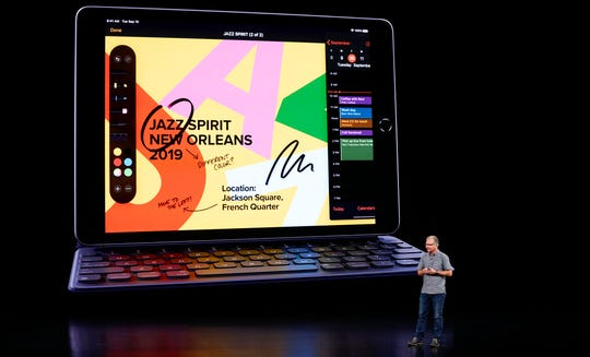 Greg Joswiak, Apple's vice president of Product Marketing talks about the new oPad Tuesday, Sept. 10, 2019, in Cupertino, Calif.