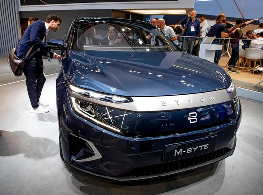 A Chinese Byton car is displayed at the IAA Auto Show.
