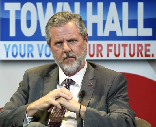 """Liberty University President Jerry Falwell Jr. participates in the first lady's """"Be Best"""" town hall meeting at the Westgate Las Vegas Resort & Casino in this March 5, 2019, file photo in Las Vegas, Nevada. Falwell claims a """"criminal"""" smear campaign exists in the wake of a Politico story alleging Falwell """"presides over a culture of self-dealing"""" at Liberty that has improperly benefited him and his family."""