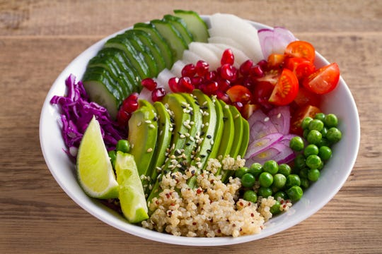 A clean healthy vegetarian lunch bowl might help prevent a heart attack.