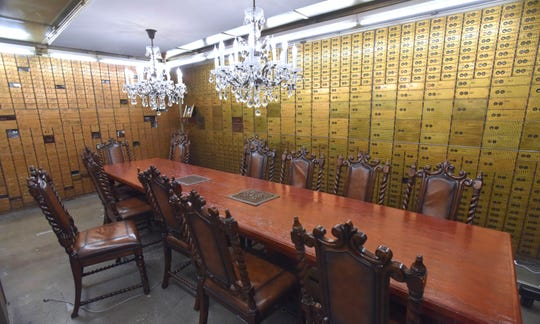The original Dime Savings Bank vault is now a conference room at Pophouse.