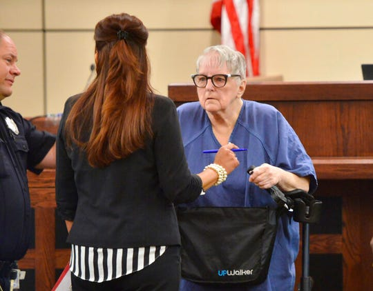 Genene Jones leaves court with her attorney Brigitte Garza Monday, September 9, 2019 in the 399th state District Court in  San Antonio, Texas.