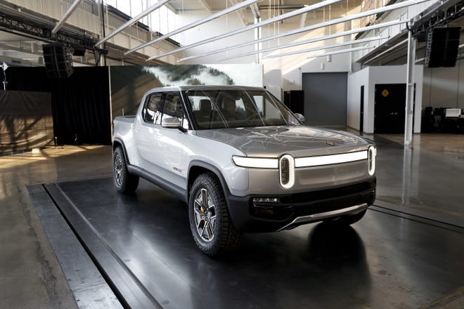 The  Rivian R1T at Rivian headquarters in Plymouth in November 2018.