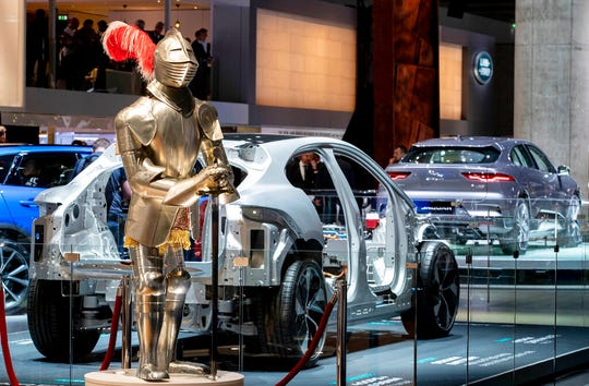 A knight armor is displayed at the IAA Auto Show in Frankfurt, Germany, Tuesday, Sept. 10, 2019.