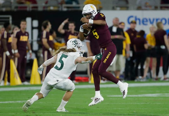 Arizona State quarterback Jayden Daniels  is 32-for-51 for 588 yards, including three touchdowns in two games.