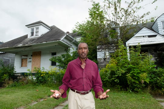 Oris Floyd, 71, who has lived on Tacoma Street near Gratiot Avenue in Detroit for more than two decades, talks about the decline of his neighborhood  and the 15 blighted and abandoned houses on his street on the city's east side.