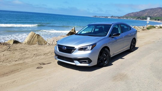 The 2020 Subaru Legacy Sport is an aggressive-looking beast with black wheels and trim - but it doesn't come with Subaru's  more powerful turbo-4 engine.