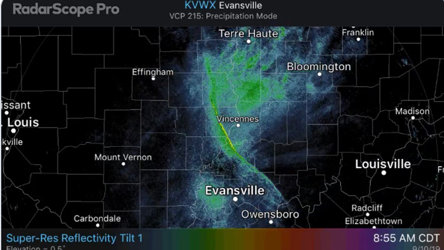 A weird radar shape flashed across the Evansville weather map. It wasn't rain | Webb