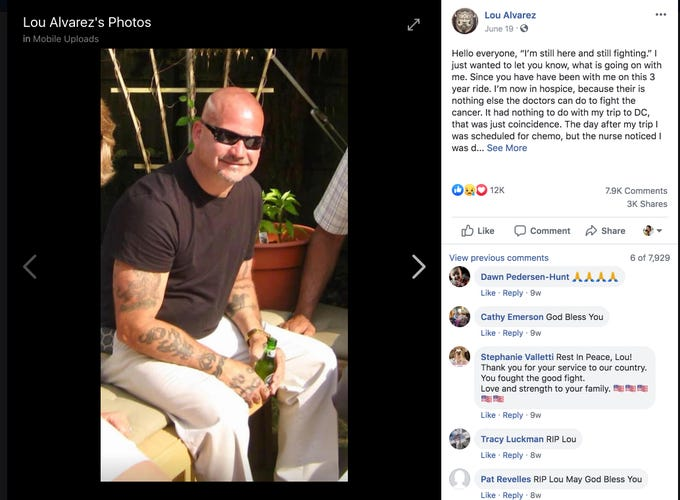 Luis Alvarez posted a photo of himself to his Facebook page, a few weeks before he died of cancer. Alvarez worked on Ground Zero after the Sept. 11 attacks.