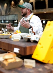 Heath Barbato, executive chef at Lambeau Field, describes new concession items that will be offered throughout the 2019 season during a tasting event on Sept. 10, 2019, at Lambeau Field in Green Bay, Wis.