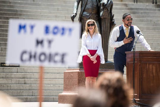 "Rep. Justin Bamberg, D-Bamberg, right, and Rep. Beth Bernstein, D-Richland, address the crowd during the national ""STOP THE BANS"" day of action at the South Carolina Statehouse, Tuesday, May 21, 2019, in Columbia, S.C. The rally was one many held in all fifty states on Tuesday in response top recent state bans on abortion."