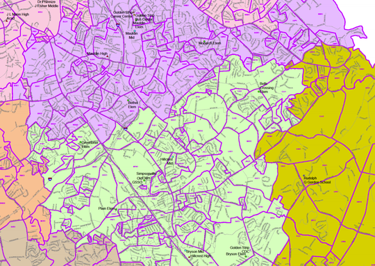 A look at the new proposed school assignment map for Greenville County, zoomed in on the neighborhoods assigned to Mauldin High School and Hillcrest High School in Simpsonville.