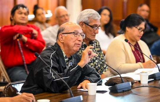 Joey Duenas, chairman of the Consolidated Commission on Utilities, explains the infrastructure needed if Guam Power Authority was to consider producing hydroelectric power during an oversight hearing before island lawmakers at the Guam Congress Building in Hagåtña on Sept. 10, 2019.