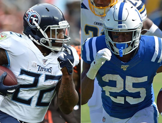 Derrick Henry of the Tennessee Titans (left) and Marlon Mack of the Indianapolis Colts.