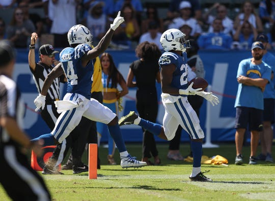 Indianapolis Colts running back Marlon Mack (25) runs for a 63-yard touchdown in the third quarter of their game at Dignity Health Sports Park in Carson, CA., on Sunday, Sept., 8, 2019.