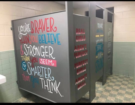 On Facebook, Christy Treadway, one of the Heart of Whimsy founders, posted the photo, which started the idea to paint positive messages in girls' bathrooms.