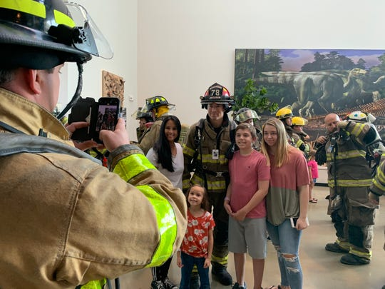 Jackson Firefighter Michael Shipley with family and friends before climbing the tower stairs. Pictured with him, L to R: Jackie David, Kalani White, Austin Shipley and Aubree Shipley